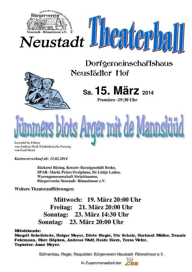 "Plakat des Bürgervereins Neustadt-Roennelmoor zu ""Jümmers blots Arger mit de Mannslüüd"""