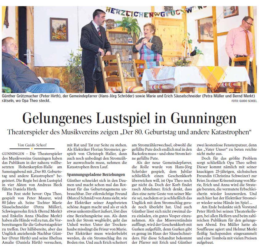 Pressebericht zur Aufführung in Gunningen von der 80'te Geburtstag und andere Katastrophen