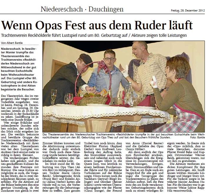 Artikel zu Aufführung des 80'ten Geburtstags in Niederschach von Schwarwälder Boten