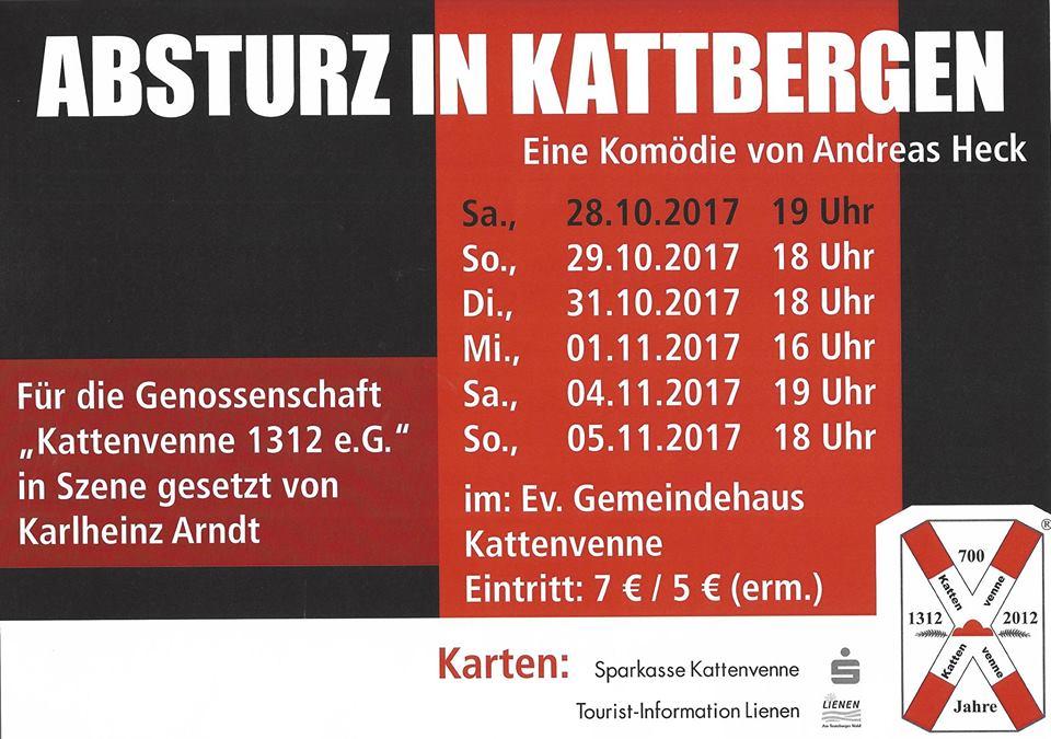 """Plakat der THeatergruppe Kattenvenne zu """"Absturz in Kattbergen"""""""