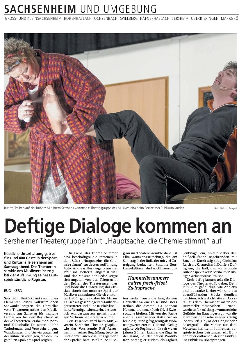 Bietigheimer Zeitung - Hauptsache die CHemie stimmt vom 24.2.2014 - Rudi Kern