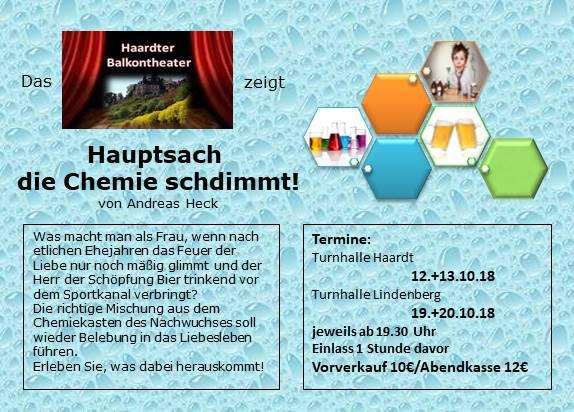 """Plakat des Haardter Balkontheaters zu """"Hauptsache die Chemie stimmt"""""""