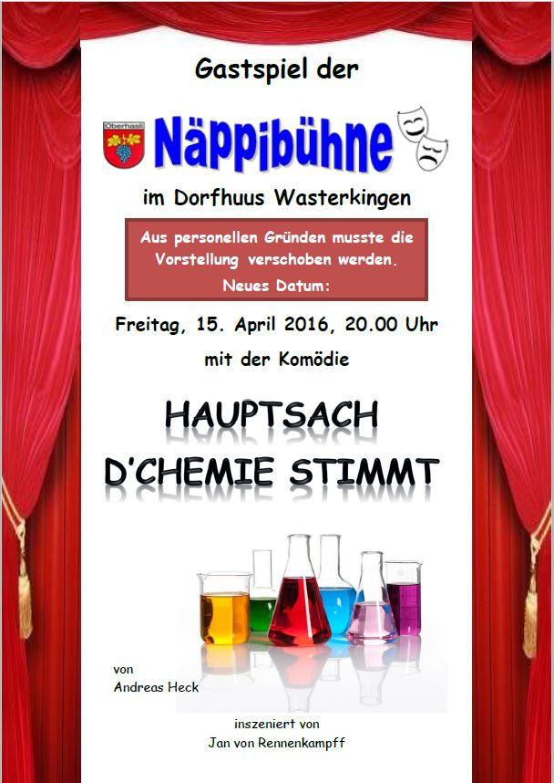 """Plakat zum Gastspiel der Näppibühne von """"Hauptsache die Chemie stimmt!"""""""