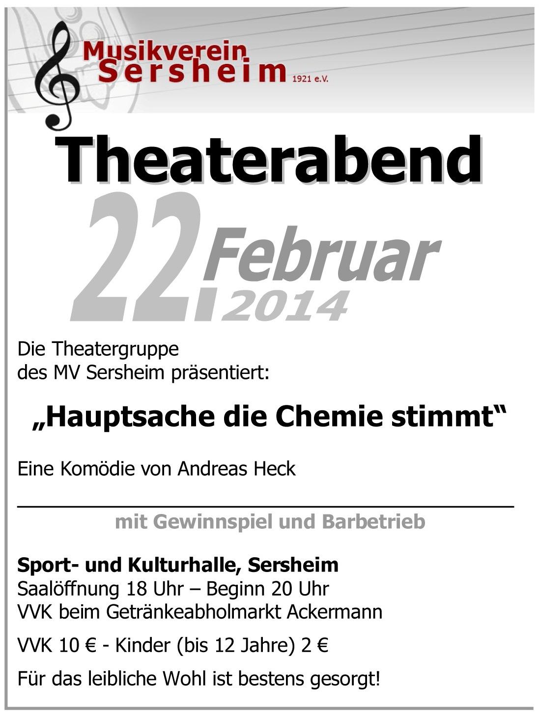 """Plakat Musikverein Sersheim zu """"Hauptsache die Chemie stimmt!"""""""