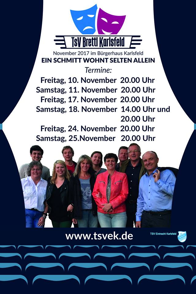 """Plakat zu """"EIn Schmitt wohnt selten allein"""" des TSV Brettl Karlsfeld"""