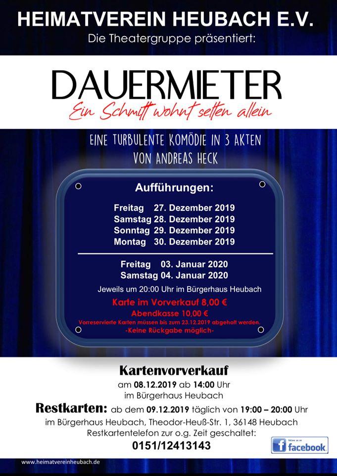"""Plakat des Heimatvereins Heubach e.V. zu """"Dauermieter"""""""