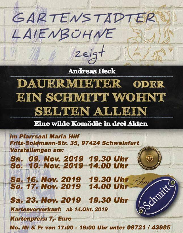 """Plakat der Gartenstaedter Laienbuehne zu """"Dauermieter"""""""