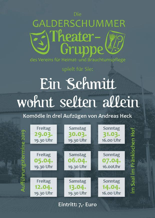 """Plakat des Heimatvereins Geldersheim zu """"EinSchmitt kommt selten allein"""""""