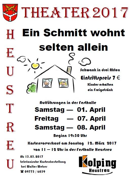 "Plakat der Kolpingfamilie Heustreu zu ""Ein Schmitt wohnt selten allein"""