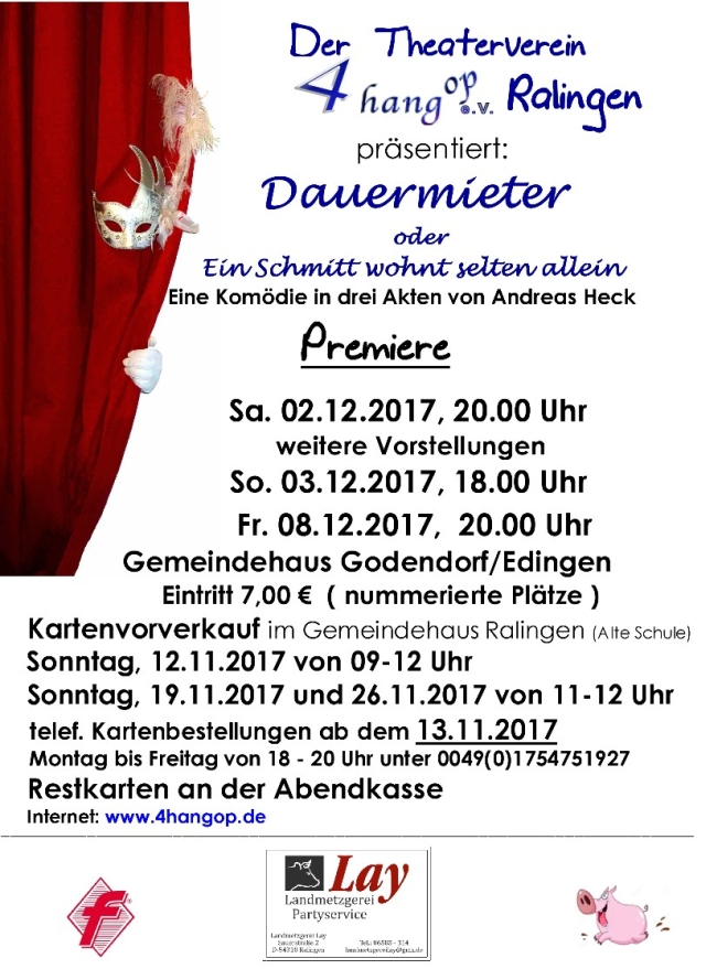 """Plakat von 4 hang op Ralingen zu """"Dauermieter oder Ein Schmitt wohnt selten allein"""""""