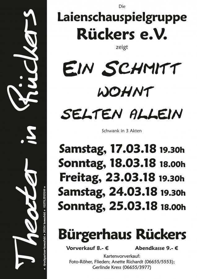 """Plakat der Laienschauspielgruppe Rueckers zu """"Ein Schmitt wohnt selten allein"""""""