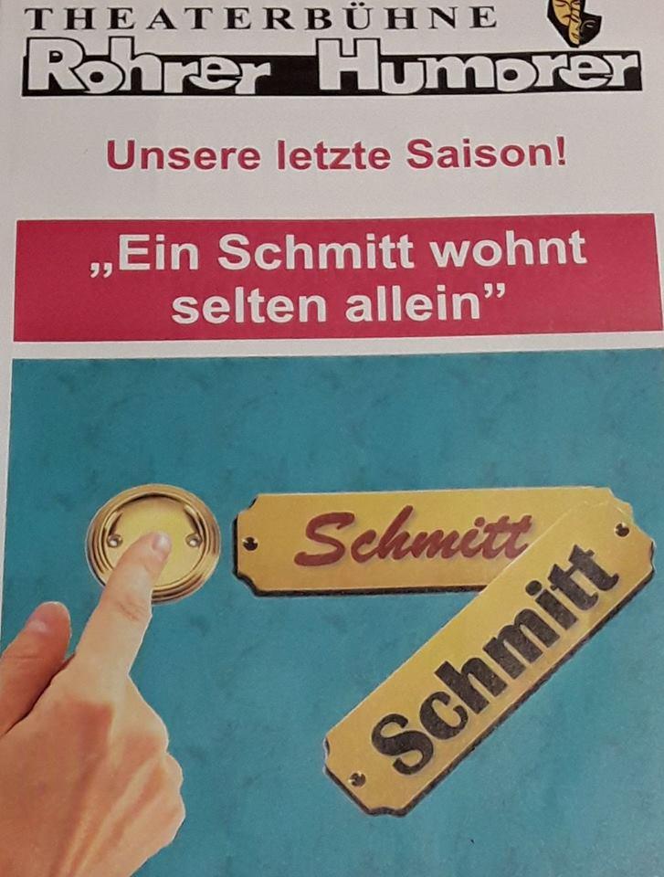 """Plakat der Rohrer Humorer zu """"Ein Schmitt wohnt selten allein"""""""