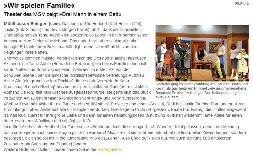 """Aus dem Singener Wochenblatt zu """"Drei Mann in einem Bett"""" in Ehingen"""