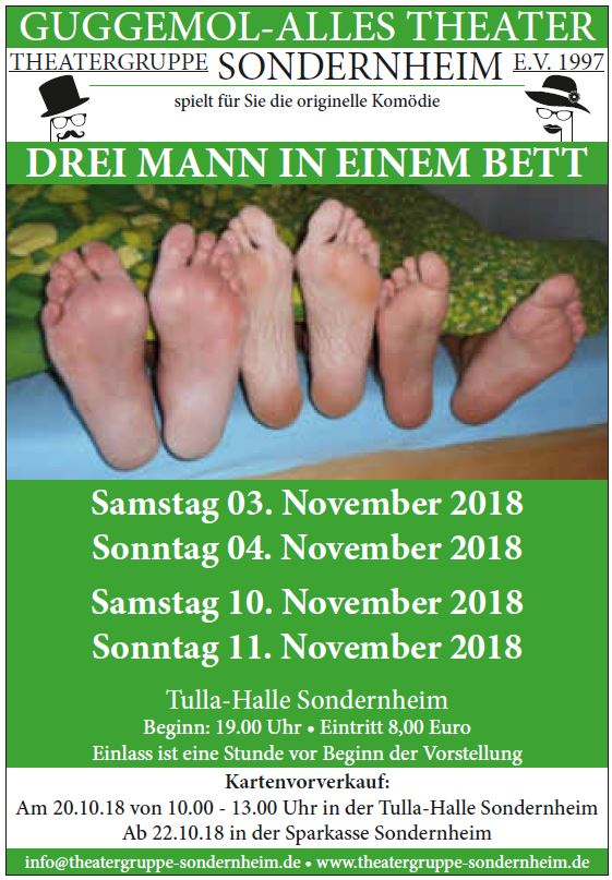 """PLakat der Theatergruppe Sondernheim zu """"Drei Mann in einem Bett"""""""