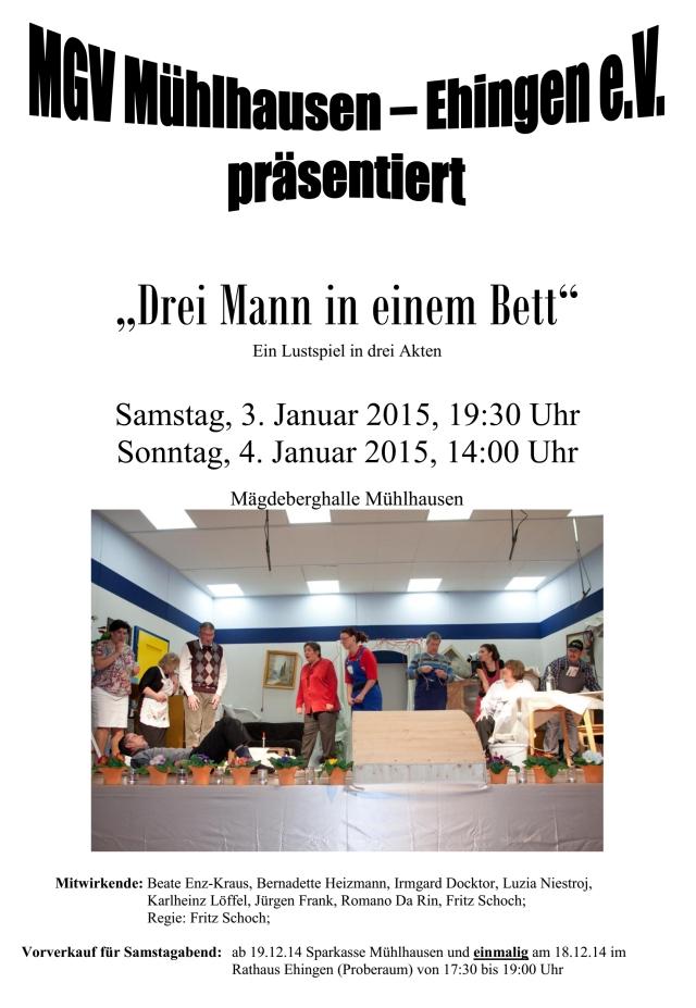 """Plakat zu """"Drei Mann in einem BEtt"""" des MGV Mühlhausen Ehingen"""