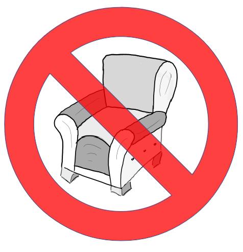 Skizzierter Sessel in einem Verbotszeichen für Komoedie Fitness Fitness Fitness