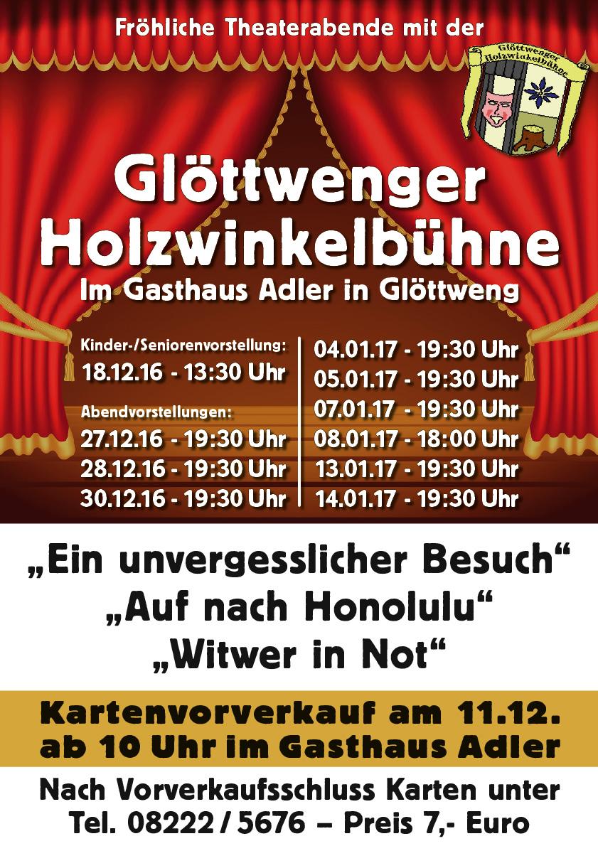 """Plakat der Glöttwenger Holzwinkelbühne zu """"Auf nach Honolulu!"""""""