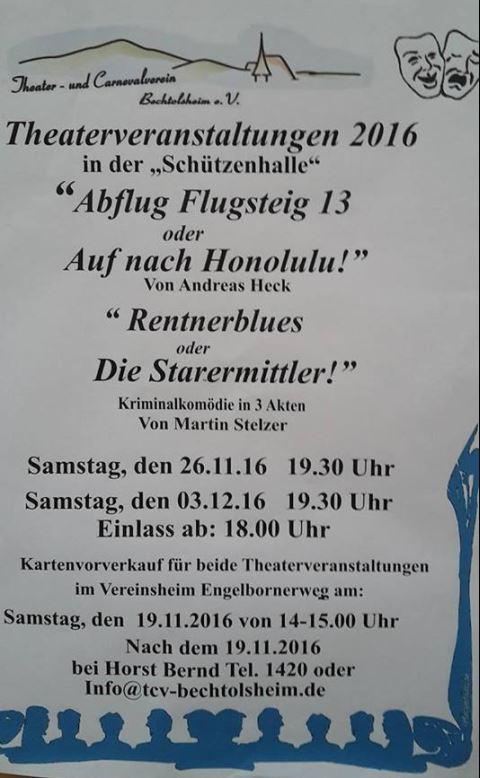 """Plakat TCV Bechtolsheim zu """"Abflug Flugsteig 13"""""""