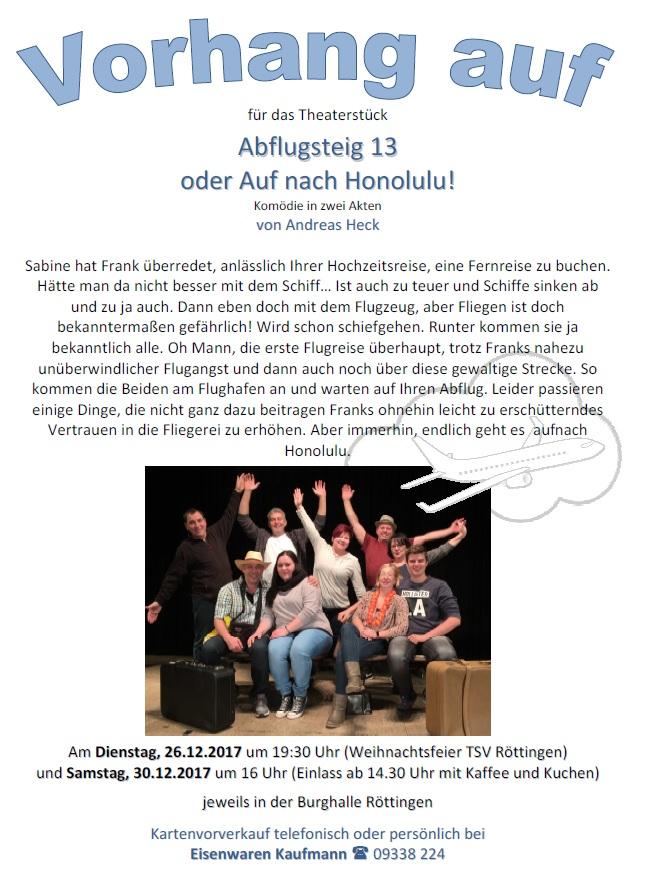 """Plakat des TSV Roettingen zu """"Abflug Flugsteig 13"""""""