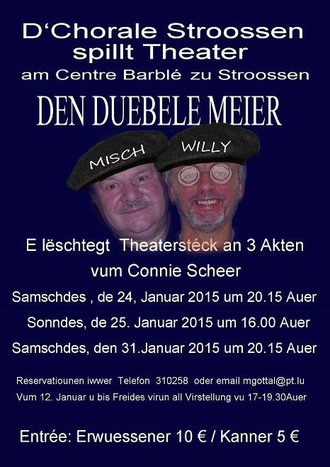 """Plakat des """"Chorals Strassen"""" für """"Den Duebele Meier"""""""