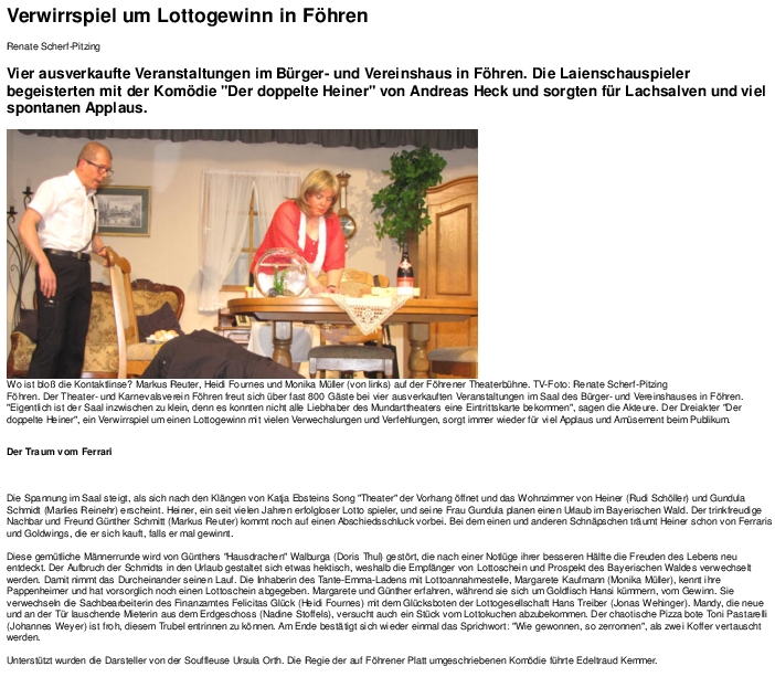 Artikel aus dem trierischen Volksfreun zum doppelöten Heiner beim TKV Föhren