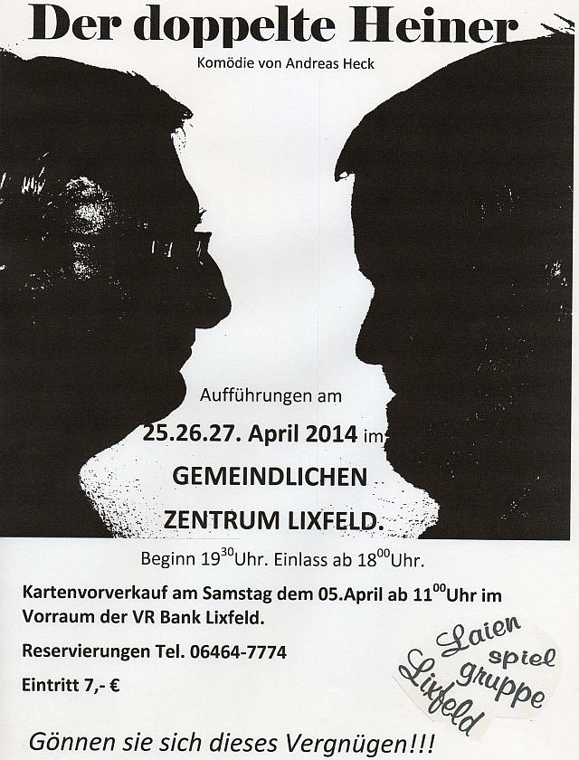 Plakat der Laienspielgruppe Lixfeld zum doppelten Heiner