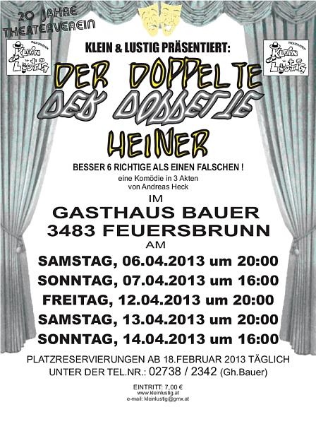 """Plakat """"Der doppelte Heiner"""", Theaterverein Klein und Lustig Feuersbrunn"""