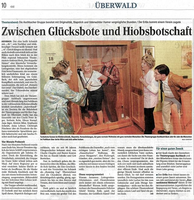 Auszug aus der Odenwälder Zeitung zum doppelten Heiner in Aschbach im Oktober 2013