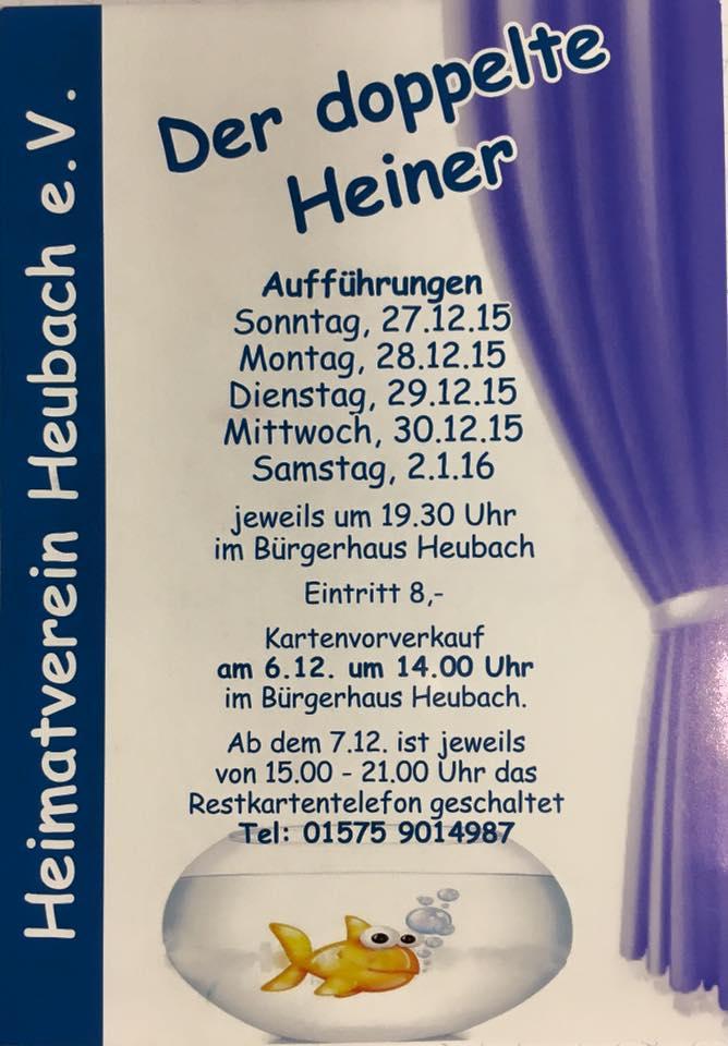 """Plakat der Theatergruppe des Heimatvereins Heubach zu """"Der doppelte Heiner"""""""