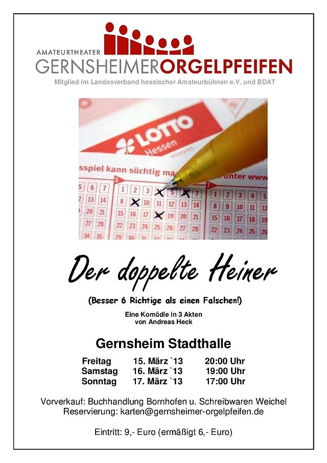 Plakat der Gernsheimer Orgelpfeifen zum doppelten Heiner