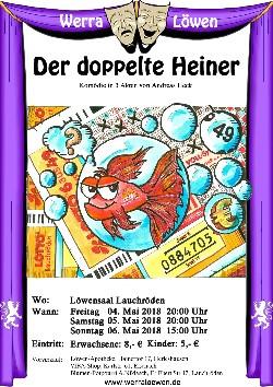 """Plakat der Werraloewen zu """"Der doppelteHeiner"""""""