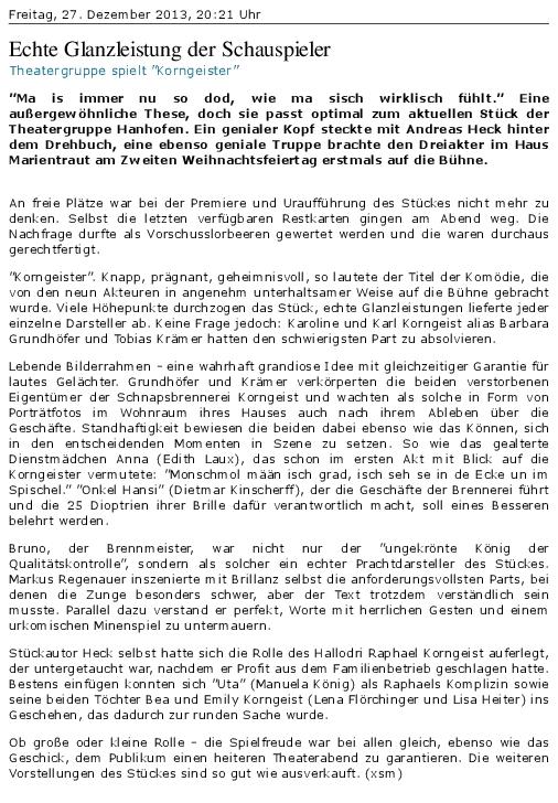 Bericht aus der Rheinpfalz zu den Korngeistern bei der TGH