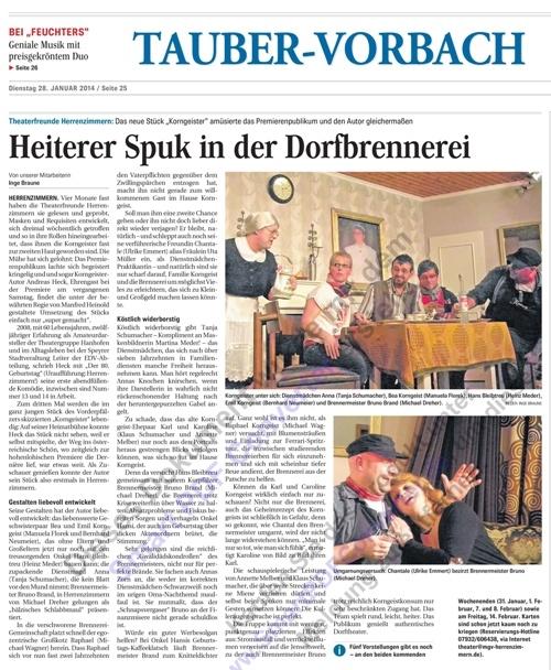 Bericht aus den Fränkischen Nachrichten Bad Mergentheim - Korngeister in Herrenzimmern