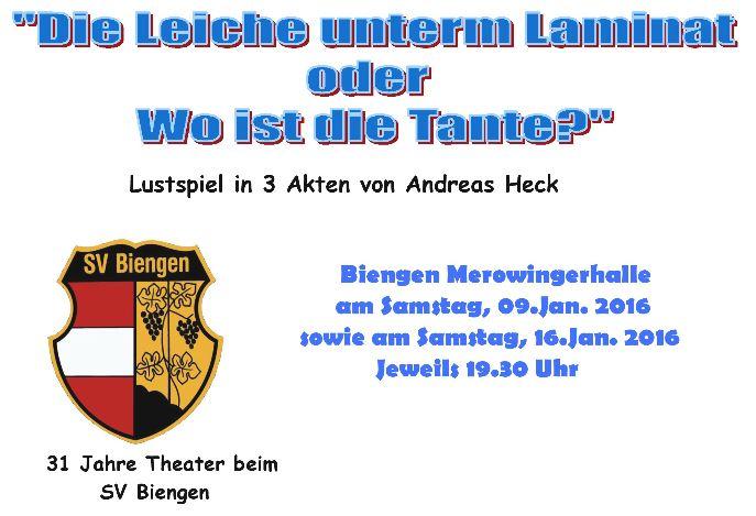 """Auszug aus dem Plakat des SV Biengen zu """"Die Leiche unterm Laminat"""""""