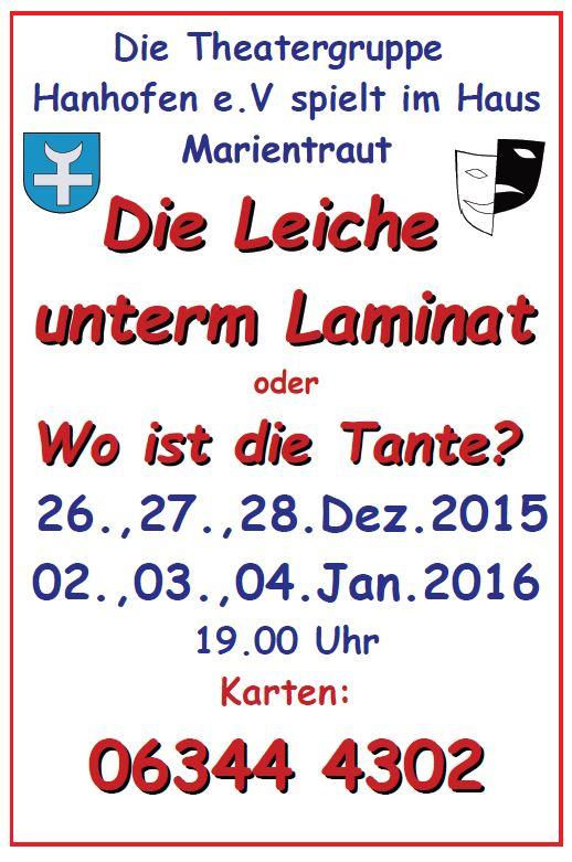 """Plakat """"Die Leiche unterm Laminat oder Wo ist die Tante"""" der TGH"""
