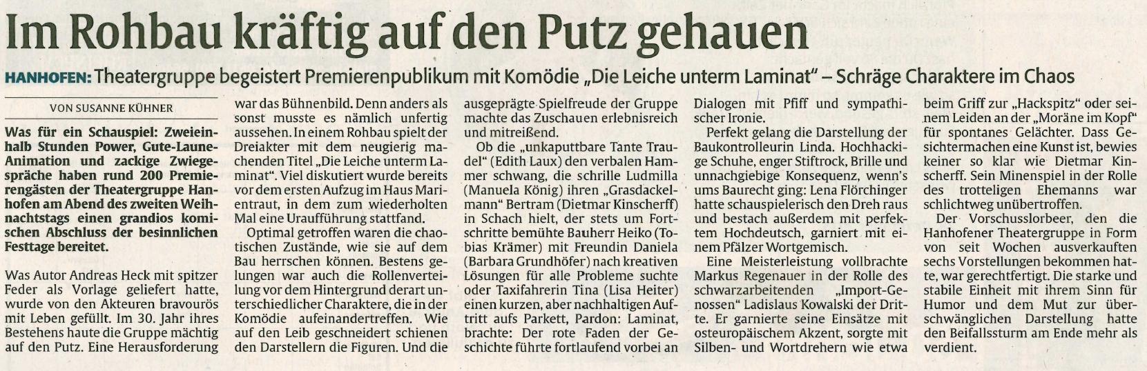 """Bericht über """"Die Leiche unterm Laminat"""" der Aufführung der TGH in der Rheinpfalz - Speyerer Rundschau"""