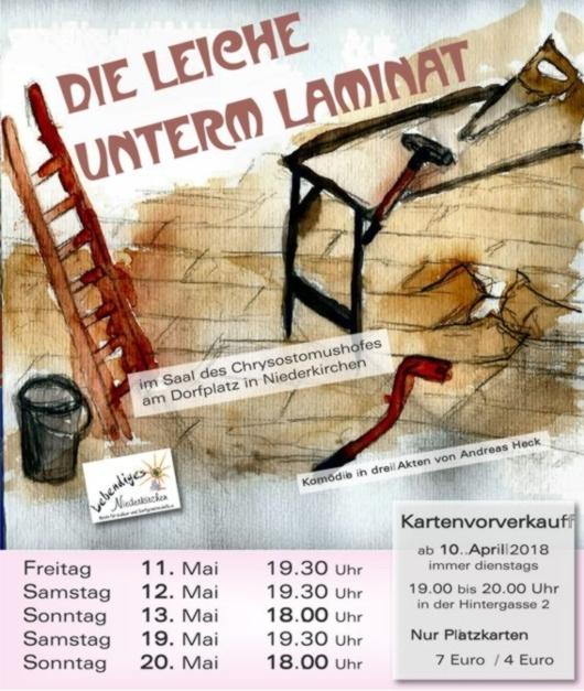 """Plakat des Kulturvereins lebendiges Niederkirchen zu """"Die Leiche unterm Laminat"""""""