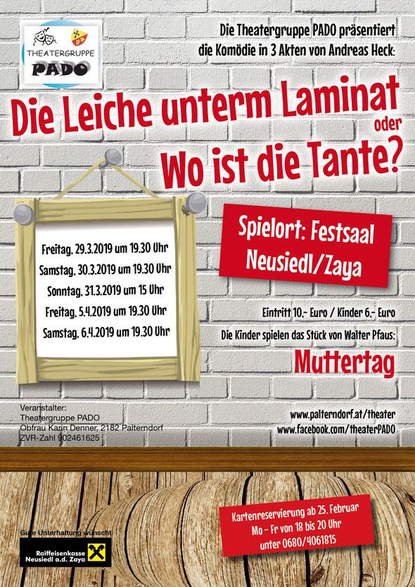 """Plakat der Theatergruppe PADO zu """"Die Leiche unterm Laminat"""""""