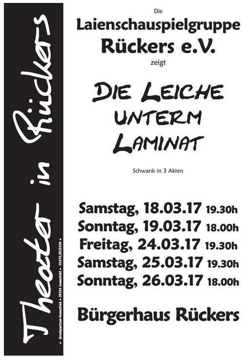 """Plakat der Laienschauspielgruppe Rueckers zu """"Die Leiche unterm Laminat"""""""