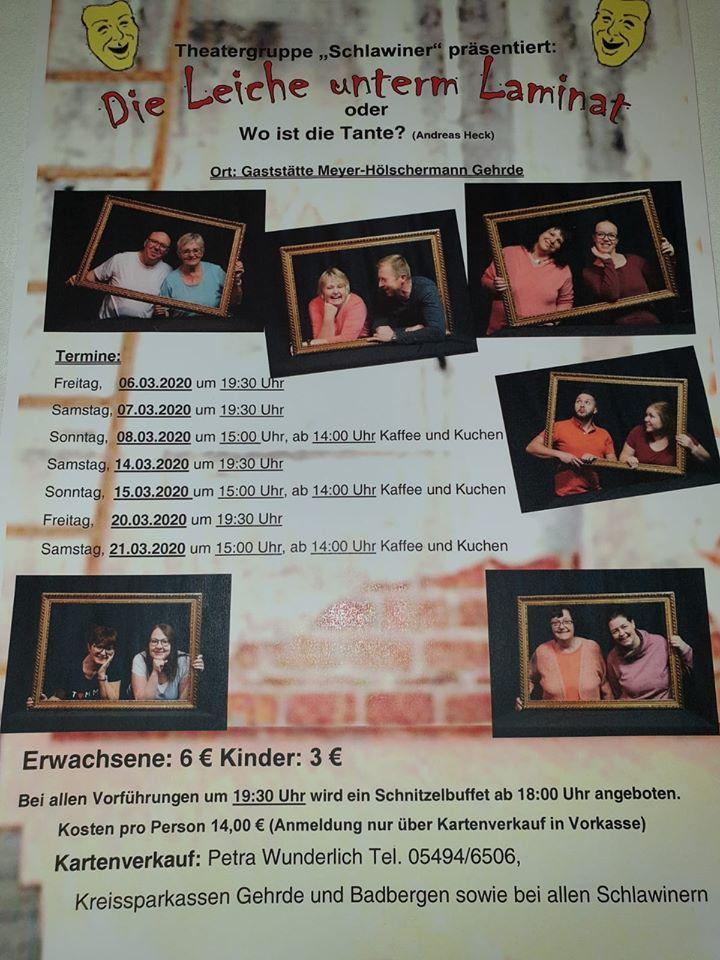 """Plakat der Schalwiner - Gehrde zu """"Die Leiche unterm Laminat"""""""
