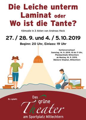 """Plakat des Gruenen Theaters in der KSG Mittlechtern zu """" Die Leiche unterm Laminat"""""""