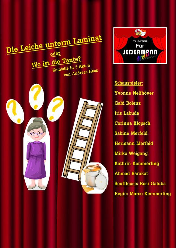 """Plakat des Theaters fuer Jedermann/frau zu """"Die Leiche unterm Laminat"""""""