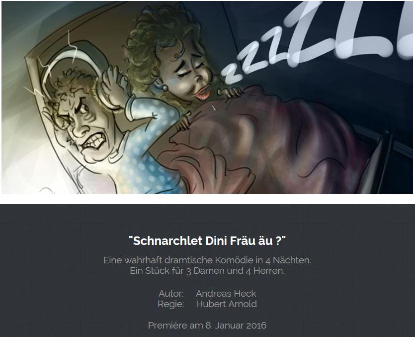 """Header der Website des Theaters Bürglen zu """"Mordgedanken oder schnarcht Ihre Frau auch?"""""""