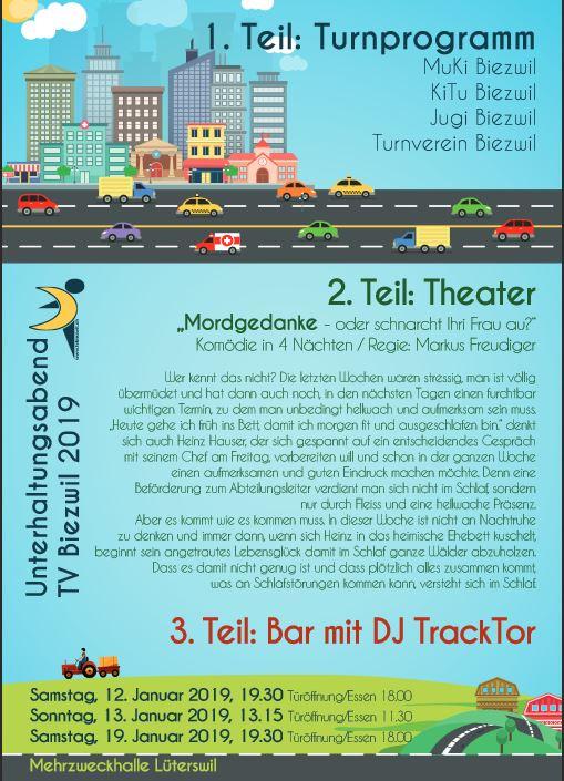 """Teil des Plakats des Turnvereins Biezwil zu """"Mordgedanken oder Schnarcht Ihre Frau auch?"""""""