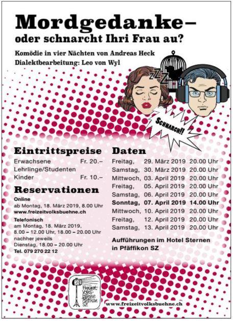 """Plakat der Heimatvolksbühne Pfaeffikon zu """"Mordgedanke! oder schnarcht Ihri Frau au?"""""""