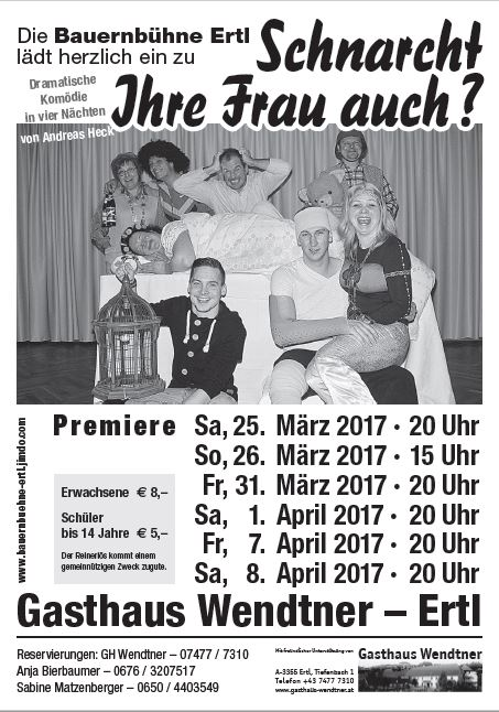 """Plakat der Bauernbühne Ertl im Urltatl zu """"Mordgedanken! oder Schnarcht Ihre Frau auch?"""""""