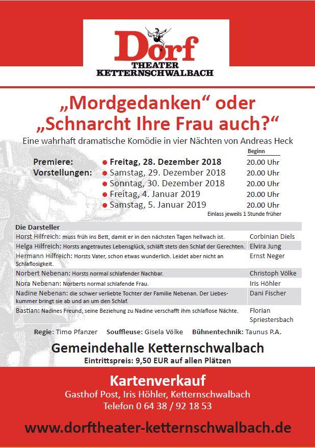 """Plakat des Dortheaters Ketternschwalbach zu """"Mordgedanken oder schnarcht Ihre Frau auch?"""""""