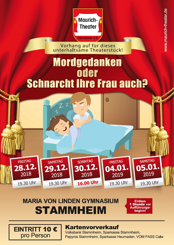 """Plakat des Maurich Theaters, Stammheim zu """"Mordgedanken oder schnarcht Ihre Frau auch?"""""""