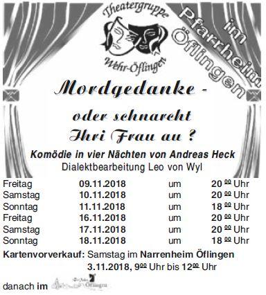 """Plakat zu """"Mordgedanke oder schnarcht ihri Frau au?"""" der Theatergruppe Wehr-Oeflingen"""