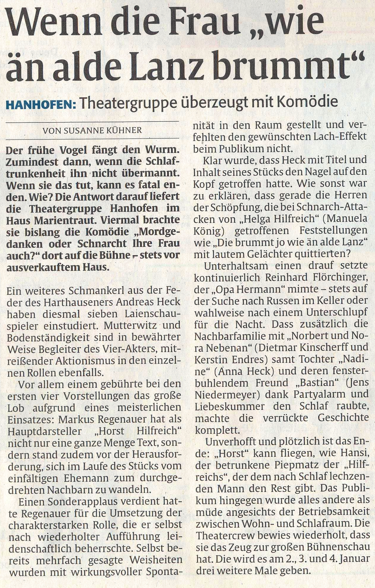 Bericht der Rheinpfalz zu Mordgedanken oder ... bei der TGH
